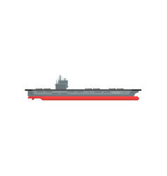 Large cartoon aircraft carrier with military vector