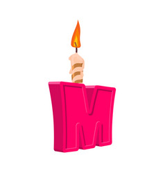letter m birthday font letter and candle vector image