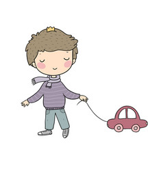 Little cute boy with a car kid with a toy vector