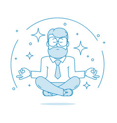 man is meditating sitting vector image