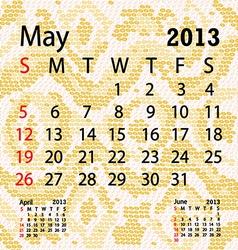 May 2013 calendar albino snake skin vector