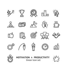 Motivation and productivity signs black thin line vector