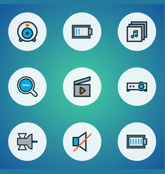 Multimedia icons colored line set with satellite vector