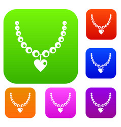 necklace set color collection vector image