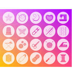 Needlework shape carved flat icons set vector