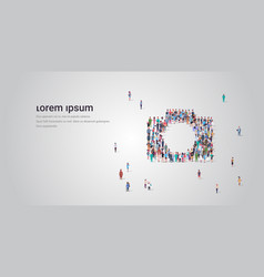 people crowd gathering in photo camera shape vector image