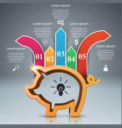pig coin bussines infographic marketing icon vector image