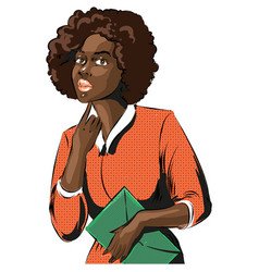 Pop art afro african woman business lady vector