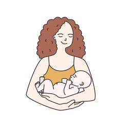 Portrait happy smiling mother holding infant vector