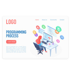Programming process landing page isometric vector