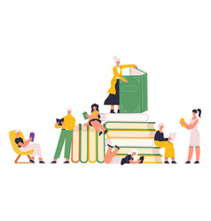 Reading book lover characters read paper books vector