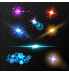 Realistic glow light effects Lens flare set vector image