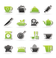Restaurant and kitchen items icons vector image vector image
