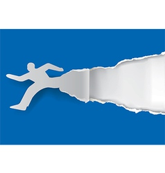 Running man ripping paper vector