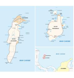 san andres providencia and santa catalina road map vector image
