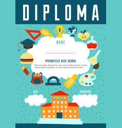 school diploma certificate design vector image