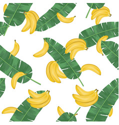 seamless pattern with banana leaves and banana vector image