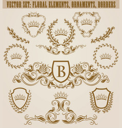 set of golden monograms vector image