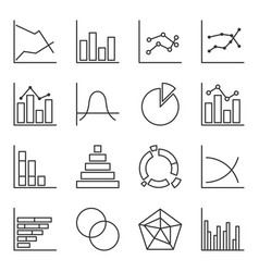 set of icons of graphic diagrams easily editable vector image