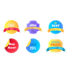 Set of special sale stickers vector