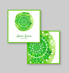 set of two square cards with hand drawn mandala vector image