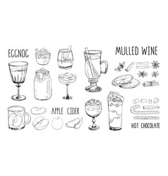 set popular hot winter drinks isolated on white vector image