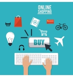 Shopping online ecommerce and media design vector