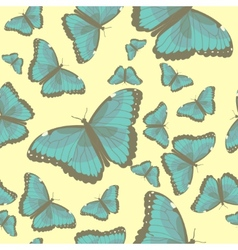 summer seamless pattern with turquoise butterflies vector image