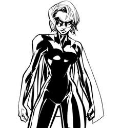 Superheroine battle mode line art vector