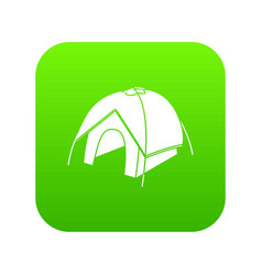 Tent icon green vector