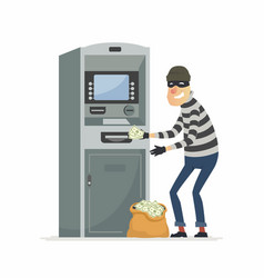 Thief stealing money from atm- cartoon people vector