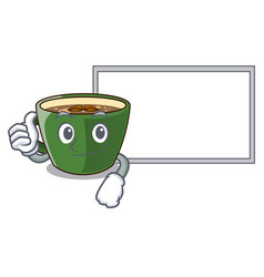 Thumbs up with board indian masala tea in cartoon vector