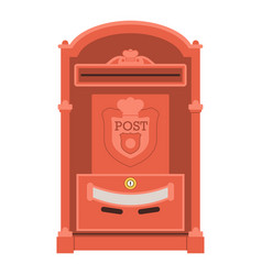 Vintage red post box or mailbox icon vector