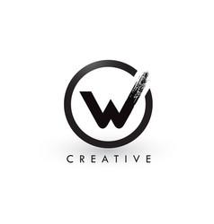 W brush letter logo design creative brushed vector