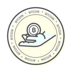 we accept bitcoin icon - hand with bitcoin vector image
