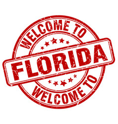 Welcome to florida red round vintage stamp vector