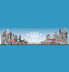 Welcome to south korea city skyline with gray vector