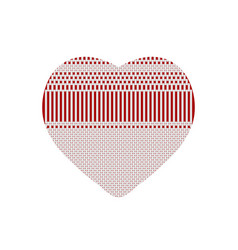 white red heart from knitted pattern vector image