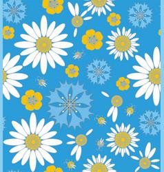 Wildflowers cornflowers and chamomile with ladybug vector