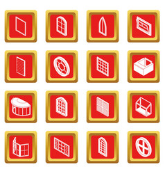 Window forms icons set red square vector