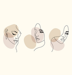 Woman face portrait in minimalist aesthetic style vector