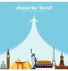 World landmarks Travel and tourism background vector