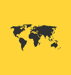 world map isolated on yellow background vector image