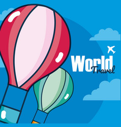 world travel card card over sky background vector image