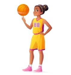Young African basketball player girl vector