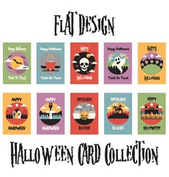 Flat Design Halloween Card Collection vector image vector image