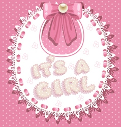its a girl baby shower on pink bib vector image vector image