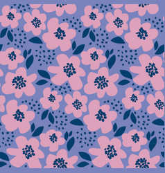 summer floral in retro 60s style abstract hand vector image vector image