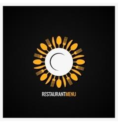 Food Logo Fork And Knife Label Background vector image vector image