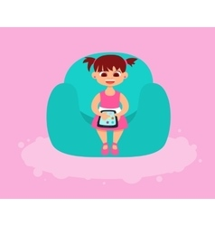 Girl playing on the tablet vector image
